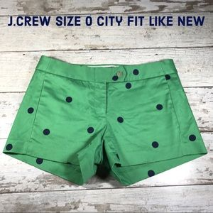 Size 0 J.Crew City Fit Green w/Navy Polkadot LkNEW